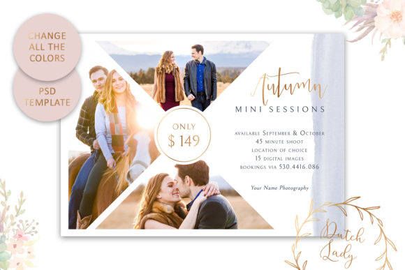 Print on Demand: PSD Photo Session Card Template #44 Graphic Print Templates By daphnepopuliers - Image 4