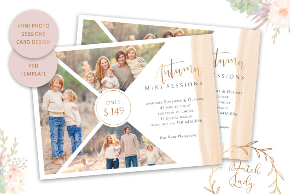 Print on Demand: PSD Photo Session Card Template #44 Graphic Print Templates By daphnepopuliers - Image 1