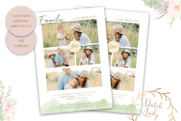 Print on Demand: PSD Photo Session Card Template #45 Graphic Print Templates By daphnepopuliers