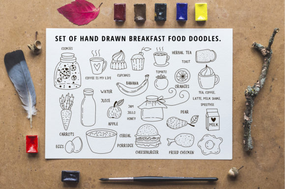 Pack of Breakfast/lunch Doodles Graphic Illustrations By Sentimental Postman