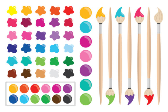 Print on Demand: Paint Brush & Palette Clip Art Set Graphic Objects By Running With Foxes - Image 2