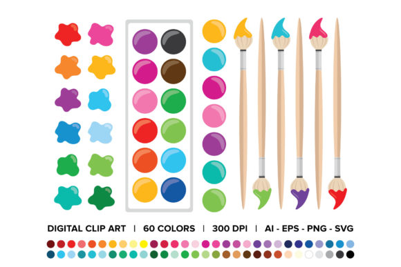 Print on Demand: Paint Brush & Palette Clip Art Set Graphic Objects By Running With Foxes - Image 1