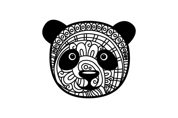 Panda Head. Mandala Line Art Style (for Coloring Book) Animals Craft Cut File By Creative Fabrica Crafts - Image 1