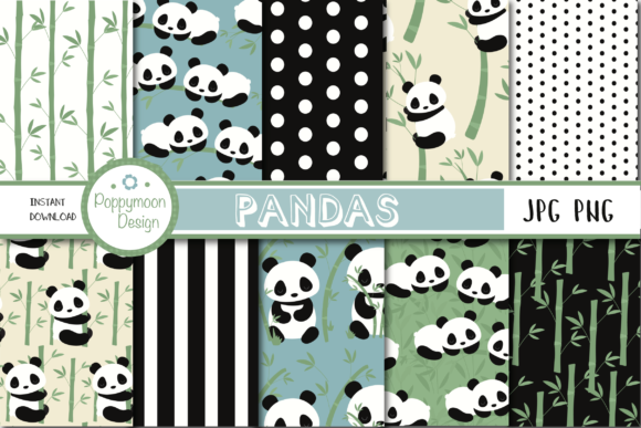 Print on Demand: Pandas Paper Graphic Patterns By poppymoondesign