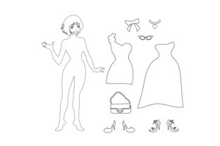 Paper Dolls Line Art Style Craft Design By Creative Fabrica Crafts