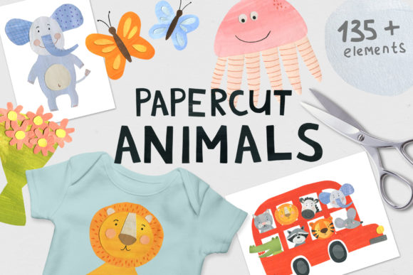 Papercut Animals Clipart Graphic Illustrations By Ukulikki - Image 1
