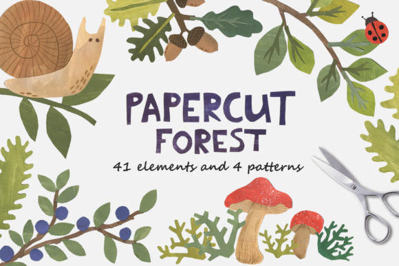 Papercut Forest Clip Art Graphic Illustrations By Ukulikki