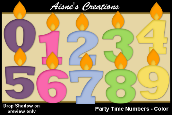 Print on Demand: Party Time Numbers - Color Clip Art Graphic Illustrations By Aisne