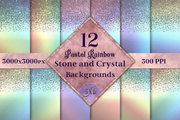 Pastel Rainbow Stone Crystal Backgrounds Graphic By SapphireXDesigns