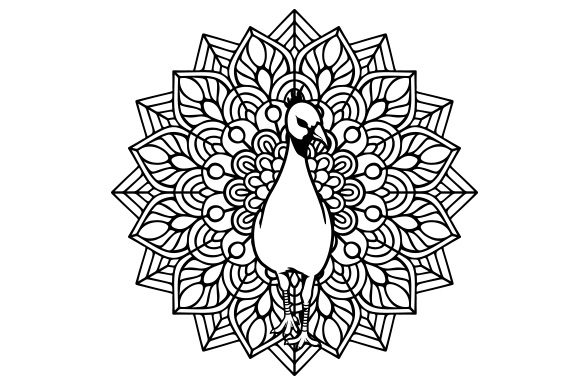 Peacock Mandala Line Art Style Animales Archivo de Corte Craft Por Creative Fabrica Crafts
