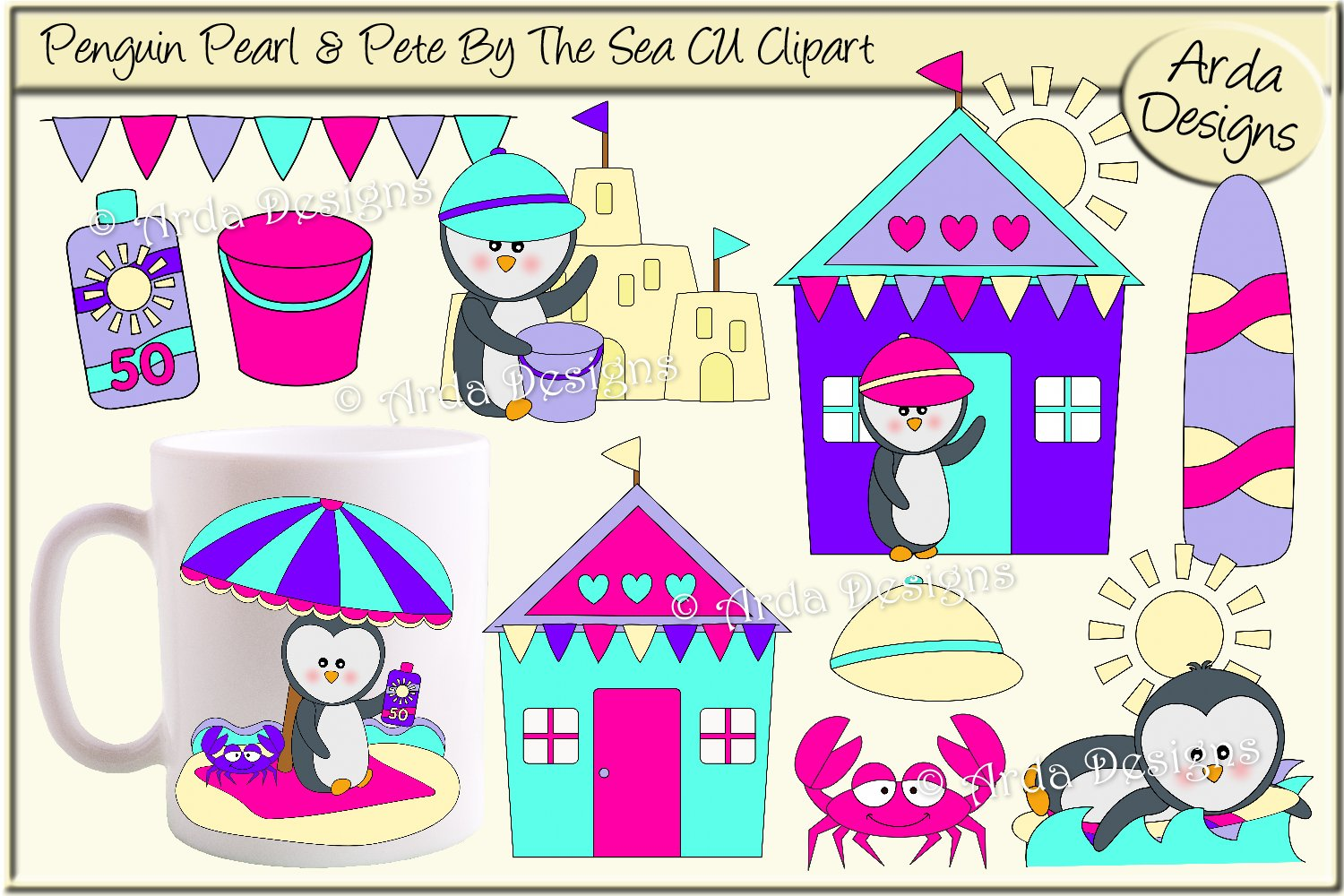 Download Free Penguin Pearl Pete By The Sea Clipart Graphic By Arda Designs for Cricut Explore, Silhouette and other cutting machines.