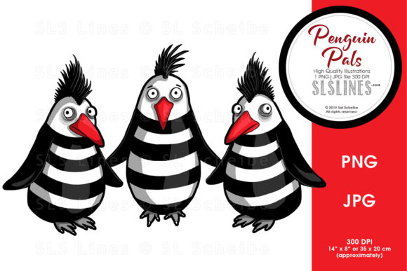 Print on Demand: Penguin Trio Friends Graphic Illustrations By SLS Lines