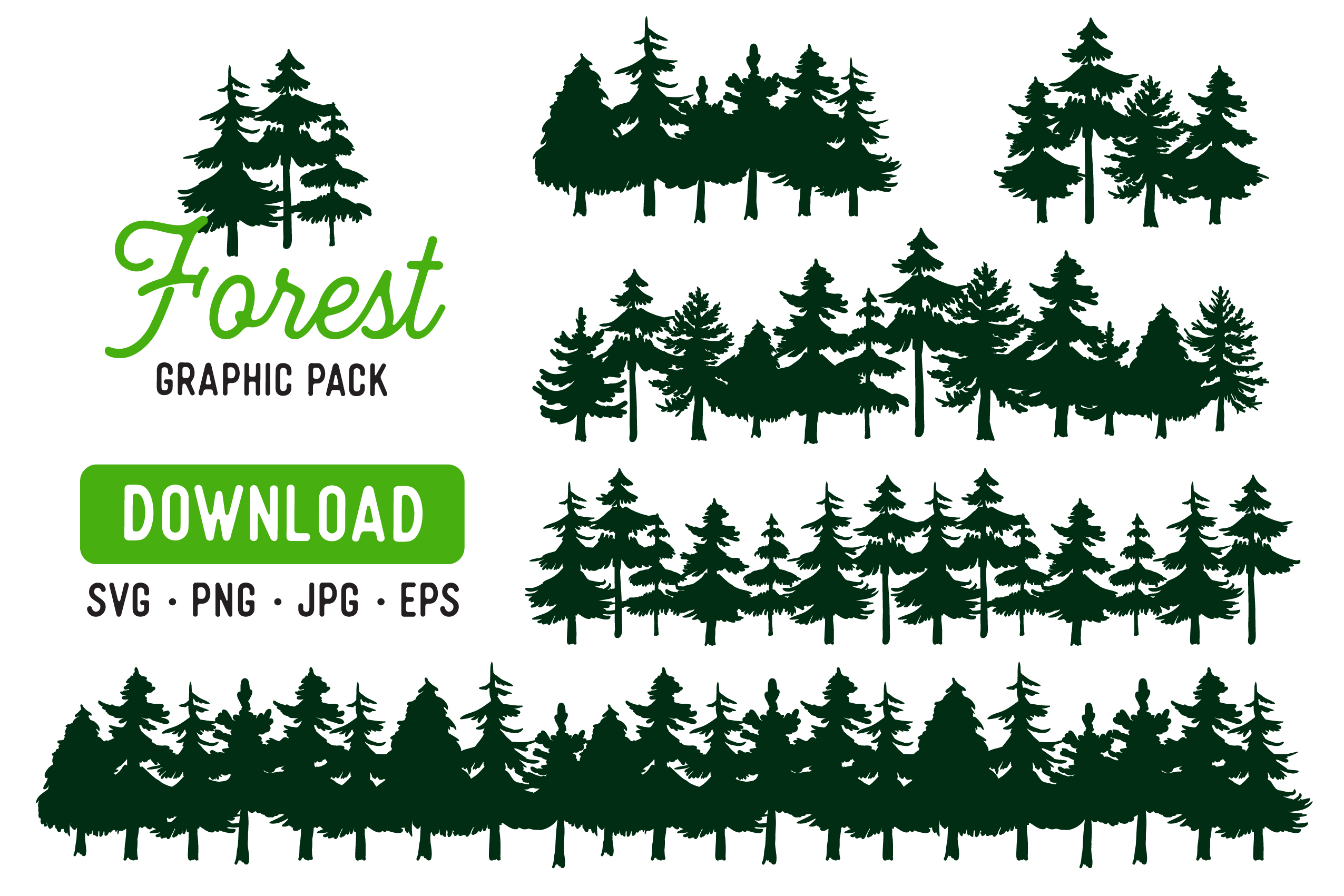 Download Free Pine Forest Clipart Bundle Graphic By The Gradient Fox for Cricut Explore, Silhouette and other cutting machines.