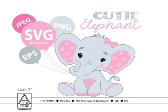 Print on Demand: Pink Elephant Graphic Graphic Templates By adlydigital