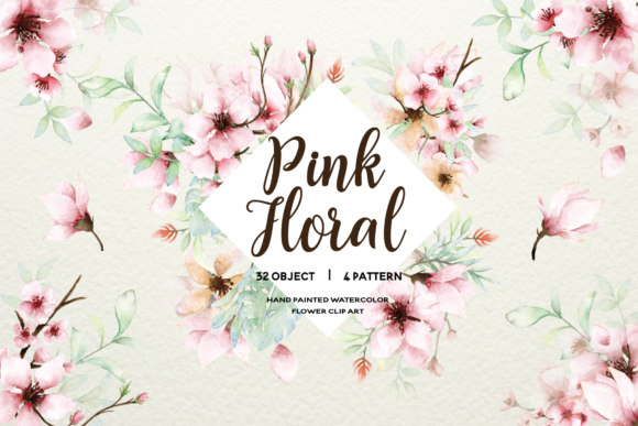 Print on Demand: Pink Floral - Sakura Watercolor Set Graphic Illustrations By Typia Nesia
