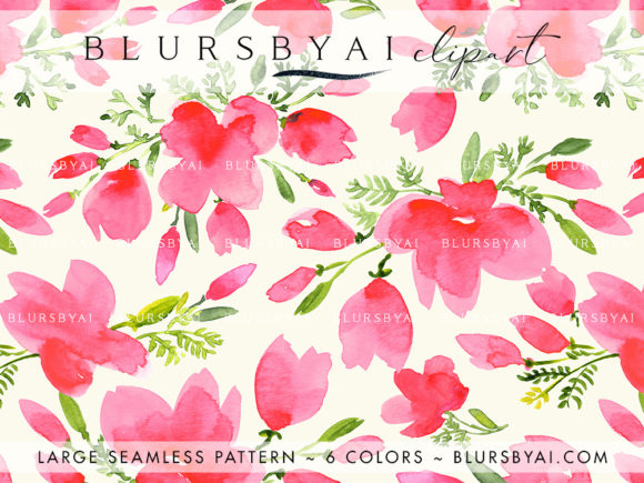 Pink Watercolor Poppies Patterns Grafik Muster von blursbyai