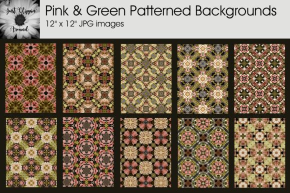 Pink and Green Patterned Backgrounds Graphic By justclippinaround