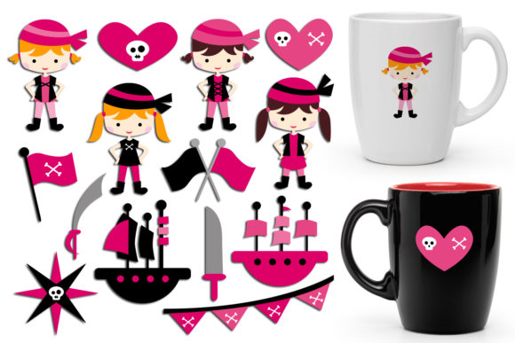 Print on Demand: Pirate Girls Graphic Illustrations By Revidevi - Image 1