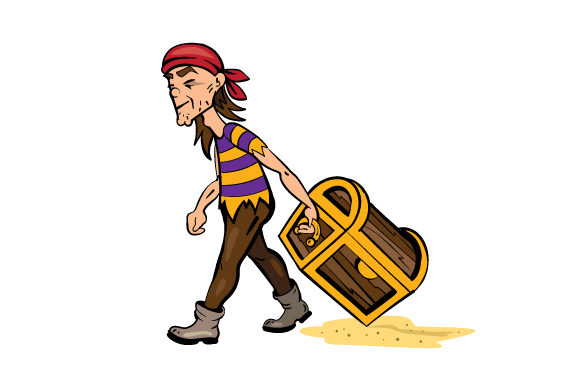 Pirate Dragging Treasure Chest In Sand Svg Cut File By Creative