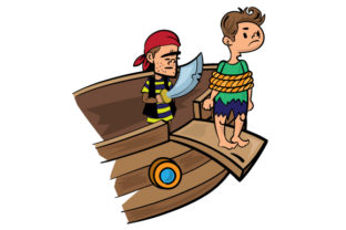 Pirate Forcing Sailor Down the Plank Craft Design By Creative Fabrica Crafts
