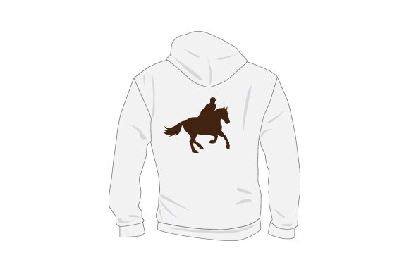 Download Free Plain Sweatshirt Mockup From Rear With Person On Horse Svg Cut for Cricut Explore, Silhouette and other cutting machines.