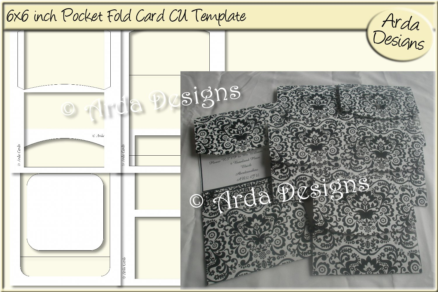 Download Free Pocketfold Card Cu Template Graphic By Arda Designs Creative for Cricut Explore, Silhouette and other cutting machines.