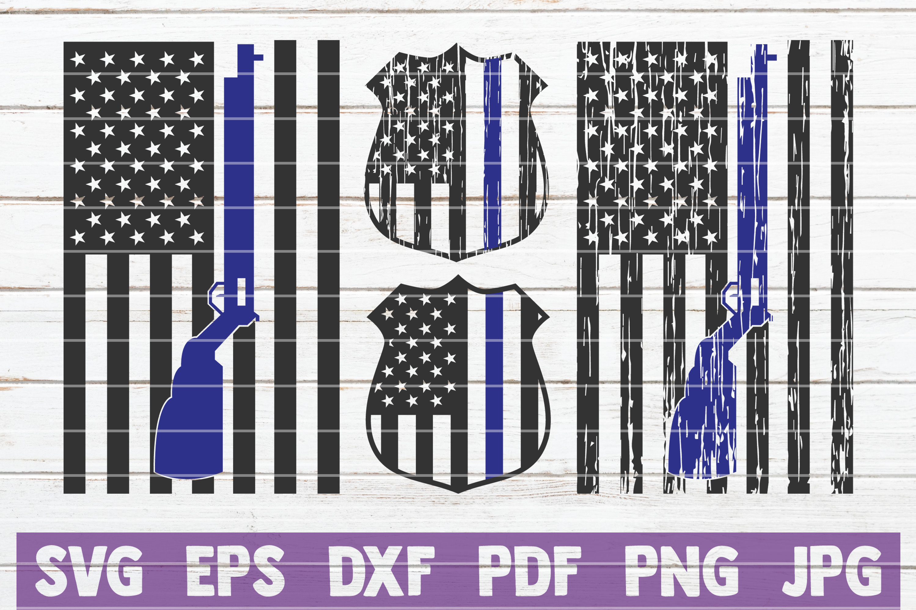 Download Free Police Flags Bundle Cut Files Graphic By Mintymarshmallows for Cricut Explore, Silhouette and other cutting machines.