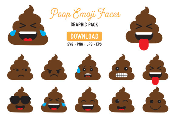 Download Free Poop Emoji Vector Clipart Pack Graphic By The Gradient Fox for Cricut Explore, Silhouette and other cutting machines.
