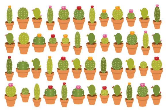 Download Free Potted Cactus Houseplant Clip Art Set Graphic By Running With for Cricut Explore, Silhouette and other cutting machines.