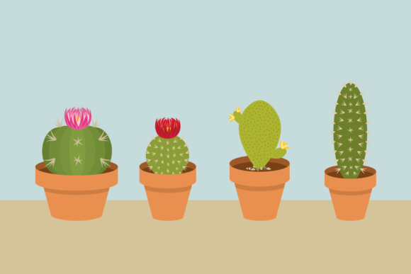 Print on Demand: Potted Cactus Houseplant Clip Art Set Graphic Objects By Running With Foxes - Image 3