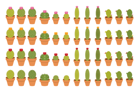 Print on Demand: Potted Cactus Houseplant Clip Art Set Graphic Objects By Running With Foxes - Image 4
