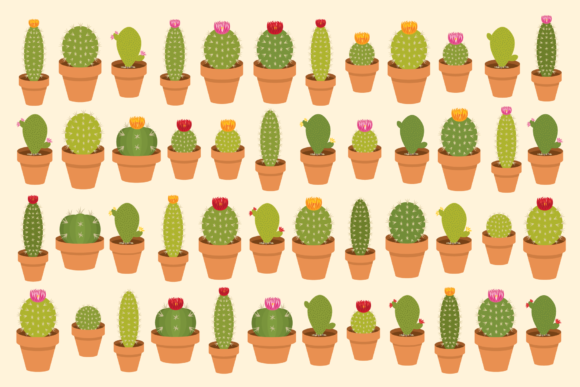 Print on Demand: Potted Cactus Houseplant Clip Art Set Graphic Objects By Running With Foxes