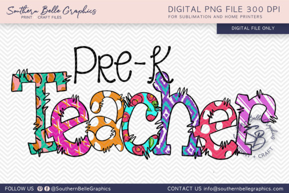 Pre K Teacher Graphic Crafts By Southern Belle Graphics - Image 1