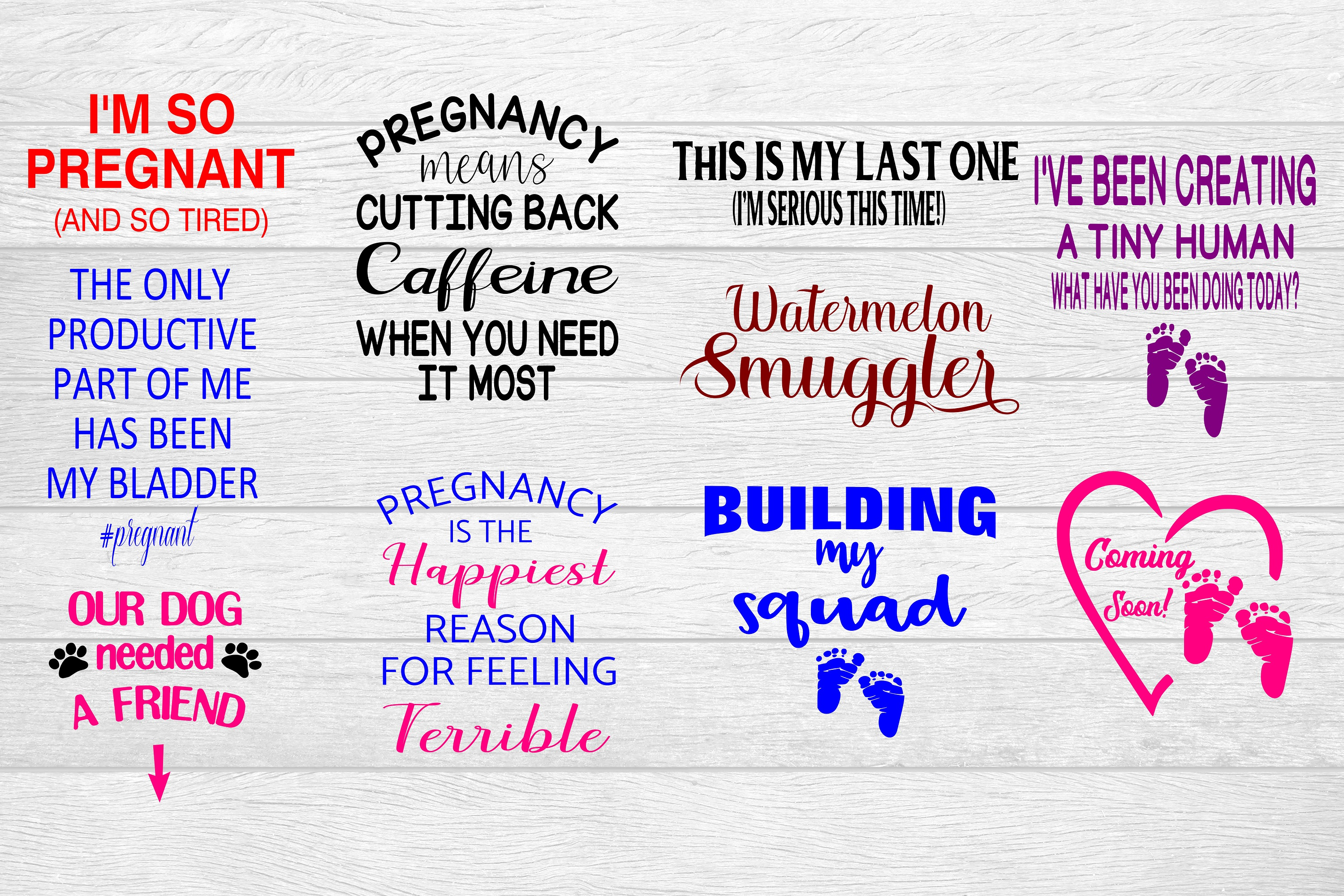 Download Free Pregnancy Sayings Bundle Grafik Von Family Creations Creative for Cricut Explore, Silhouette and other cutting machines.