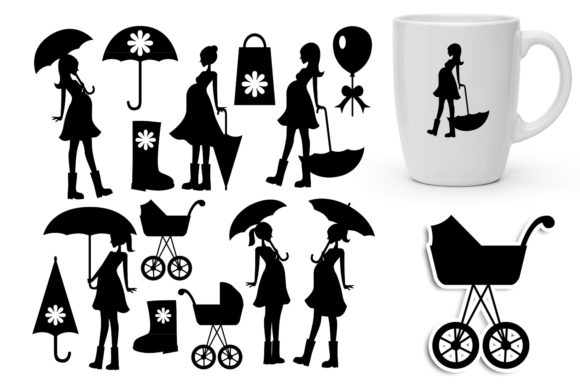 Print on Demand: Pregnant Woman with Umbrella Graphic Illustrations By Revidevi