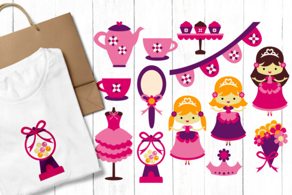 Print on Demand: Princess Tea Party Graphic Illustrations By Revidevi