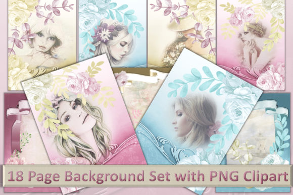 Download Free Printable Background Set Womens Art Graphic By The Paper for Cricut Explore, Silhouette and other cutting machines.