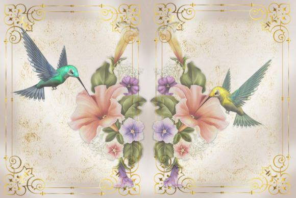 Print on Demand: Printable Backgrounds Hummingbirds Graphic Crafts By The Paper Princess - Image 4