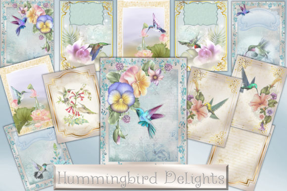 Print on Demand: Printable Backgrounds Hummingbirds Graphic Crafts By The Paper Princess - Image 1