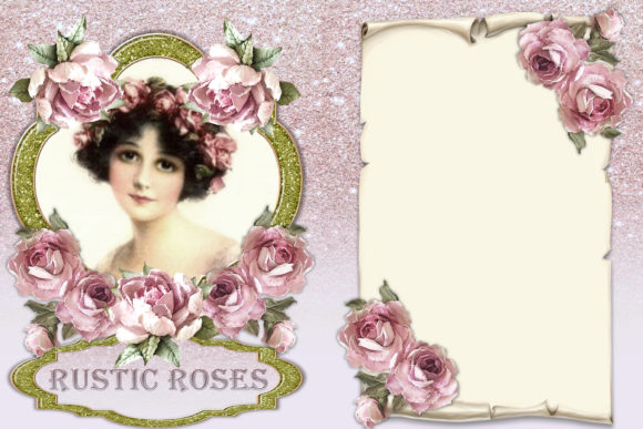 Print on Demand: Printable Backgrounds Rustic Roses Graphic Crafts By The Paper Princess - Image 5