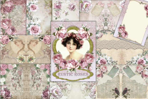 Print on Demand: Printable Backgrounds Rustic Roses Graphic Crafts By The Paper Princess - Image 1