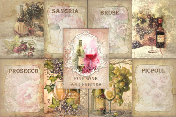 Print on Demand: Printable Backgrounds Sun Sea and Wine Graphic Backgrounds By The Paper Princess - Image 1