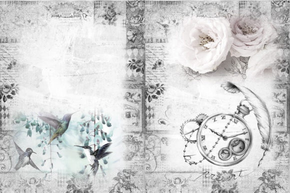 Print on Demand: Printable Backgrounds with Free Clipart Graphic Crafts By The Paper Princess - Image 6