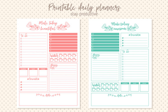 Printable Daily Planner Graphic Print Templates By Sentimental Postman