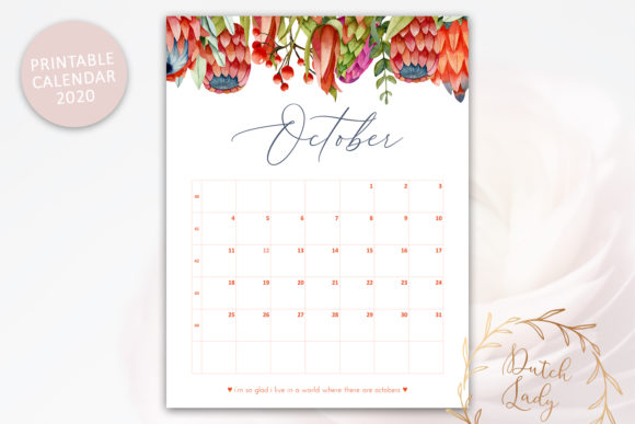 Print on Demand: Printable Monthly Calendar 2020 Florals Graphic Print Templates By daphnepopuliers - Image 2