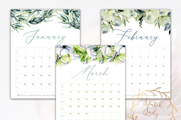 Print on Demand: Printable Monthly Calendar 2020 Florals Graphic Print Templates By daphnepopuliers - Image 3