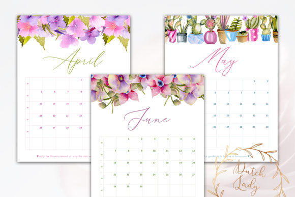 Print on Demand: Printable Monthly Calendar 2020 Florals Graphic Print Templates By daphnepopuliers - Image 4