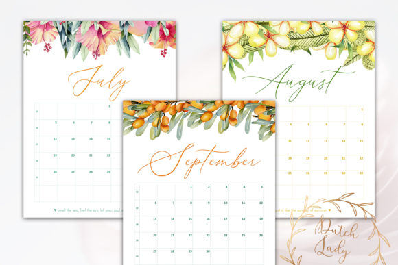Print on Demand: Printable Monthly Calendar 2020 Florals Graphic Print Templates By daphnepopuliers - Image 5