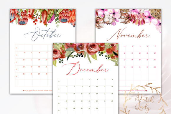 Print on Demand: Printable Monthly Calendar 2020 Florals Graphic Print Templates By daphnepopuliers - Image 6