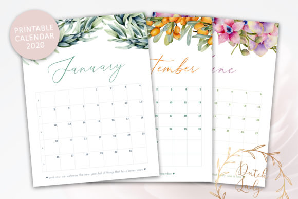Print on Demand: Printable Monthly Calendar 2020 Florals Graphic Print Templates By daphnepopuliers - Image 1
